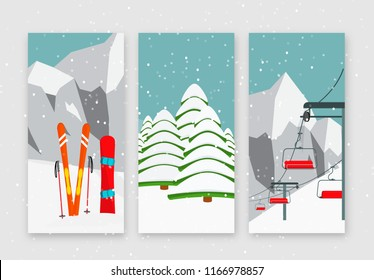 Ski resort season is open, winter web banners set design. Ski lift, equipment, snowboard, Alps, fir trees, falling snow, mountains panoramic background, flat vector illustration.