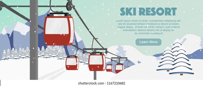 Ski resort season opening flyer concept, cartoon vector illustration. Red cabin lift, mountains, fir trees, ski trail panoramic background. Aerial ropeways, hills, winter web banner design.