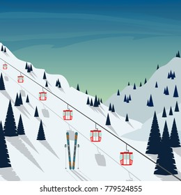 Ski resort snow mountain landscape, ski lifts. Winter landscape with ski slope covered with snow, trees and mountains on background. Cartoon flat vector illustration