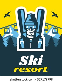 Ski resort. Time relax. Winter holidays, weekends. Snowy mountains. Logo skier in glasses. Fresh air. on the horizon, winter nature view. Pine forest. Vector illustration. Flat style