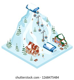Ski resort vacation gondola way. Winter outdoor holiday activity sport in alps, landscape with mountain view and forest. Alpine village chalet. Flat style 3d isometric vector illustration