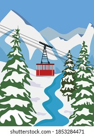 Ski resort for vacation with lift, aerial flat vector illustration. Winter outdoor sports activities in the Alps, dombay, spruce, mountains, forest. Winter activities banner design.