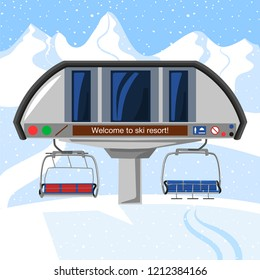 Ski resort vacation, ski lift station. Winter outdoor holiday activity sport in alps, landscape with winter mountain view. Ski resort Infographic