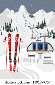Ski resort vacation with ski lift. Winter outdoor holiday activity sport in alps, landscape with mountain view and forest, Ski equipment in the foreground. Flat style