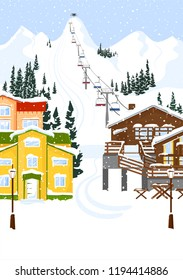 Ski resort vacation with ski lift. Winter outdoor holiday activity sport in alps, landscape with mountain view and forest. Alpine village chalet. Flat style