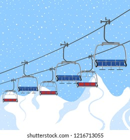 Ski resort vacation, ski lift. Winter outdoor holiday activity sport in alps, landscape with winter mountain view. Template for ski resort flyer advertising. Web banner background