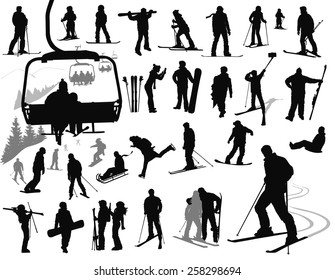 skiing silhouettes images stock photos vectors shutterstock Korean Spa ski resort vector silhouettes collection eps 10