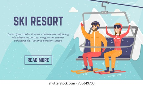 Ski resort web page template. Smiley Caucasian white man and woman skiers sitting on ski lift with raised hands. Winter leisure sport activity concept. Vector flat design illustration with copyspace.