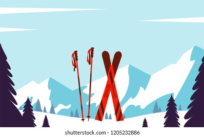 Ski resort. Winter landscape with snow, trees, mountains. Vector