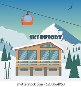 Ski resort. Winter mountain landscape with lodge, ski lift. Winter sports vacation banner. Vector illustration