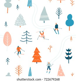Ski seamless pattern with people skiing in the snowing forest in vector. Christmas illustration