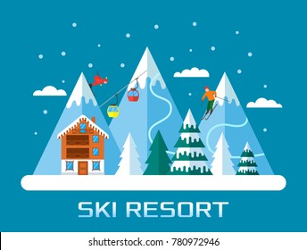 Ski season in the winter Alps. the ski resort is open. Winter landscape for web banner. flat vector illustration