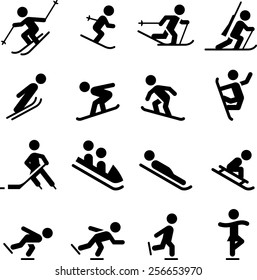Ski, skate, hockey, snowboarding and sledding icons