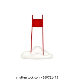 Ski slalom gate in red design standing in snow