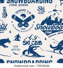 Ski and Snowboard Club seamless pattern. Vector illustration. Concept for shirt, print, stamp, badge or tee. Vintage typography design with snowboarder and skier silhouette. Winter Extreme sport.
