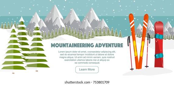 Ski, snowboard equipment, Swiss Alps, fir trees, falling snow, mountains panoramic background, flat vector illustration. Ski resort season is open. Winter web banner design.