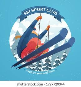 Ilustración del club deportivo de esquí con salto de esquí en el aire sobre el fondo de la estación de esquí