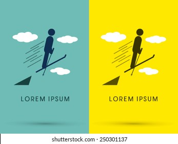 Ski, standing and jumping to the sky ,logo, symbol, icon, graphic, vector.