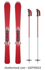 ski and sticks vector illustration isolated on white background