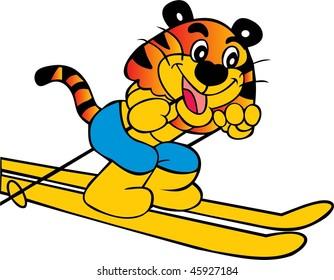 ski tiger vector