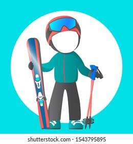 Ski winter equipment: tracksuit, helmet; mask; skiing, sticks. You can insert any face. Cartoon vector illustration template.