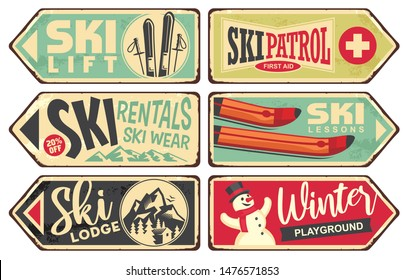 Ski and winter holiday retro signs collection. Vintage vector illustration with winter vacation and snow sports theme. Ski rentals and ski wear signs.
