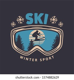 Ski winter sport vintage typography t shirt design with glasses and skier silhouette