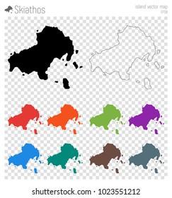 Skiathos high detailed map. Isolated black island outline. Vector illustration.