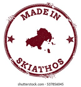 Skiathos vector seal. Vintage island map stamp. Grunge rubber stamp with Made in Skiathos text and island map, vector illustration.
