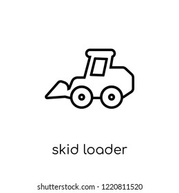skid loader icon. Trendy modern flat linear vector skid loader icon on white background from thin line Industry collection, outline vector illustration
