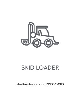 skid loader linear icon. Modern outline skid loader logo concept on white background from Industry collection. Suitable for use on web apps, mobile apps and print media.