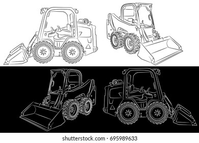 Skid steer heavy construction equipment clip art with bucket line art vector illustration on black and white background.