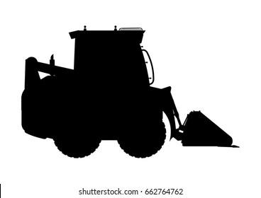 Skid steer loader silhouette. Flat vector.