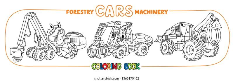 Skidder, harvester and handler cars coloring set