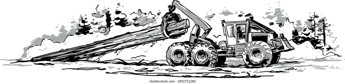 Skidder Hauling Logs. Vector illustration