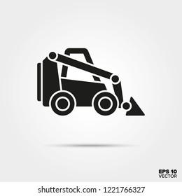 Skid-steer icon vector. Construction equipment symbol.