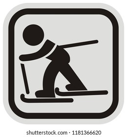 skier, black silhouette at gray and black frame, vector icon