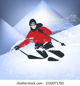 Skier - downhill - mountain landscape, snow whirlwind - illustration, vector. Winter sport. Skiing. Freestyle.