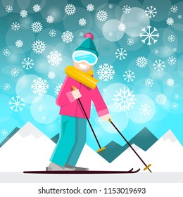 Skier with Mountins on Backraund.  Vector Winter Landscape with Snowflakes.