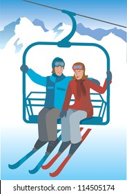 Skier  on the lift. Two skier sitting on the lift to the top of the mountains. Vector Illustration
