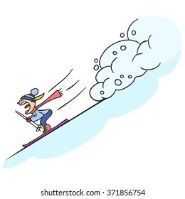 Skier rescued from avalanche. Skier skiing downhill in high mountains.  cartoon character. vector illustration Sport theme. Skier and snow. Winter sport.