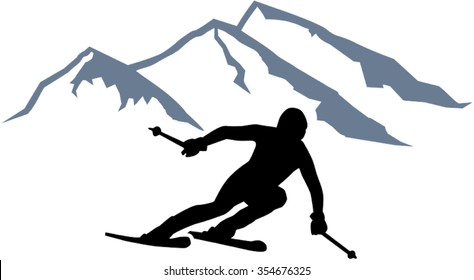 Skier Silhouette Images, Stock Photos & Vectors | Shutterstock