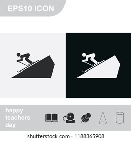 Skier simple flat black and white vector icon. Slope illustration.