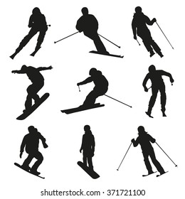 Skier and snowboarder. Set of vector silhouettes of skiing and snowboarding