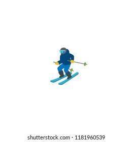 Skier vector flat icon