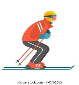 Skier. Vector illustration of skiing man in a red jacket and full sports ammunition in trendy flat style. Isolated on white.