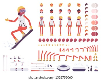 Skier woman character creation set. Ski clothing, equipment, winter sport gear kit. Full length, different views, emotions, gestures. Build your own design. Cartoon flat style infographic illustration