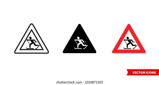 Skiers crossing sign icon of 3 types: color, black and white, outline. Isolated vector sign symbol.