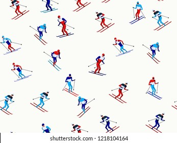 Skiers pattern. Winter seasonal activity. Modern art style.