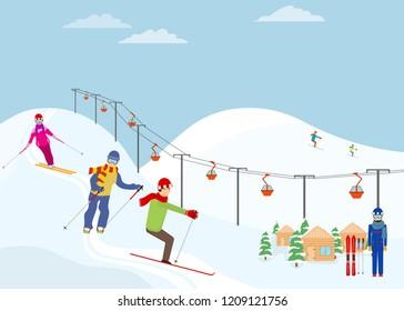 Skiers, skiers slide down the slopes. Ski resort. Flat design, vector illustration, vector.